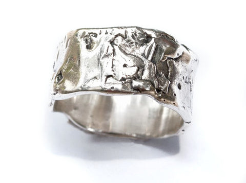 Chunky Rustic textured wide band, wide silver ring, oxidized rough band - Handmade with love from Greece