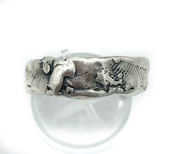 Chunky Rustic textured band, silver ring, oxidized rough band