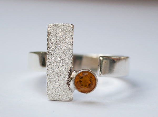 geometric ring, Citrine silver ring adjustable November birthstone ring yellow stone ring