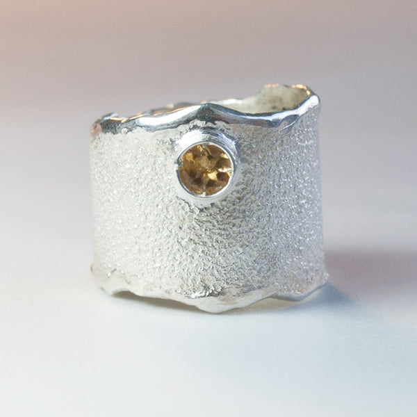 Citrine silver ring, November birthstone yellow stone ring rough textured wide ring