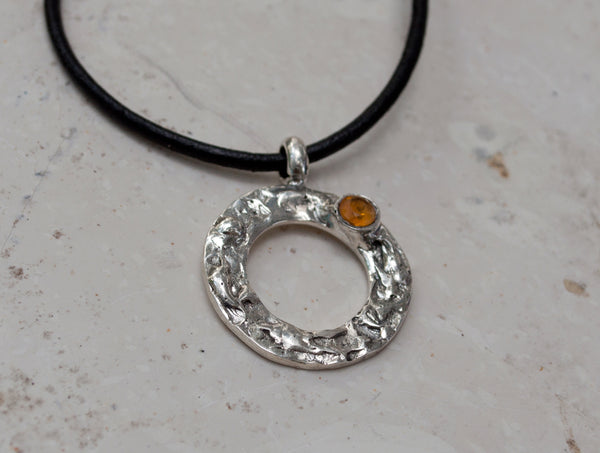 citrine silver pendant, karma pendant, geometric circle pendant, citrine pendant - Handmade with love from Greece