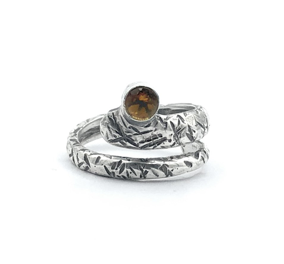 citrine ring, November birthstone ring, snake ring, yellow stone ring