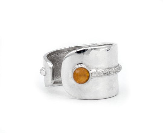 citrine silver ring, adjustable silver ring, yellow stone ring Santorini Ring - Handmade with love from Greece