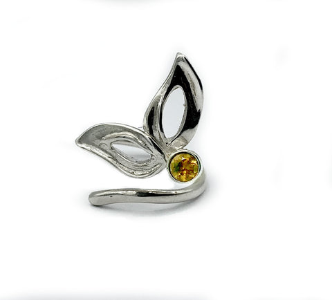 flower ring, citrine silver ring, contemporary silver ring adjustable