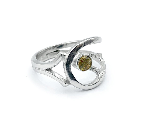 citrine ring, yellow stone ring, November birthstone modern silver ring