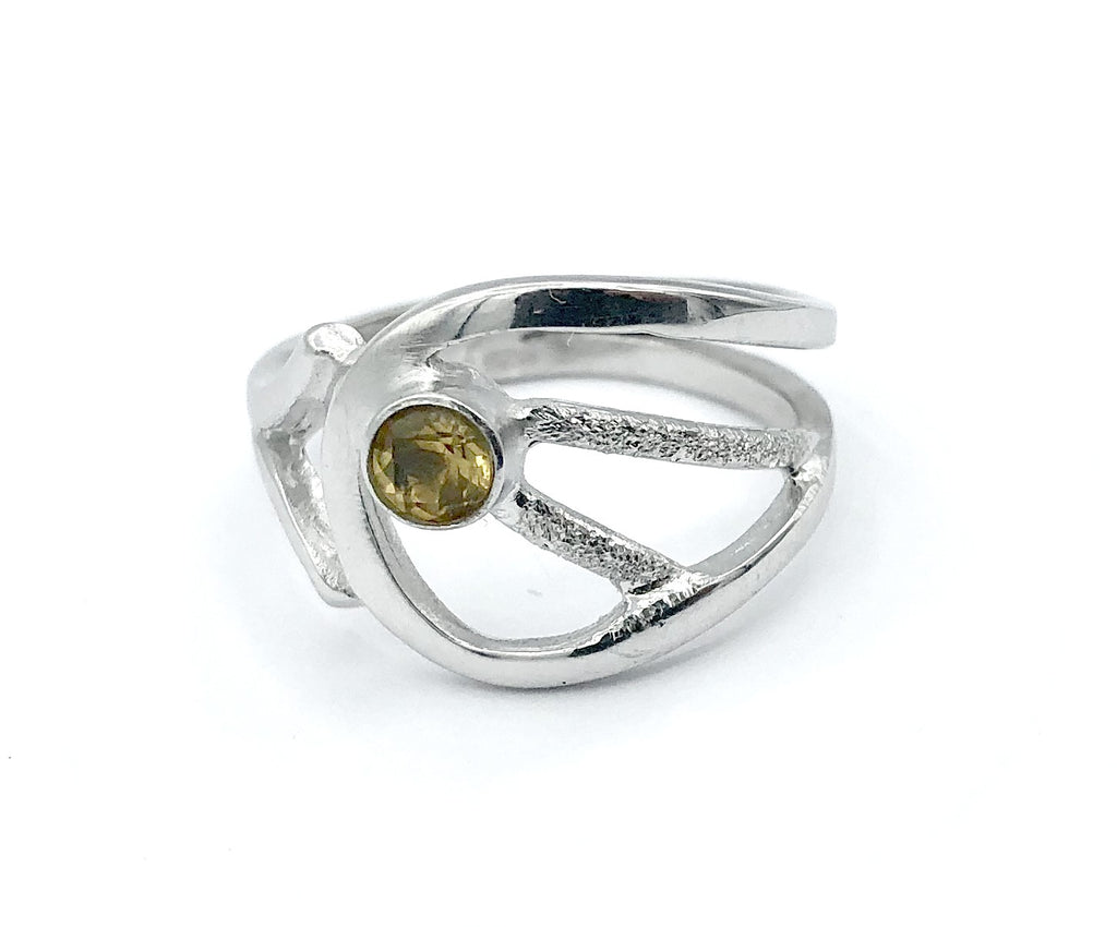 citrine ring, yellow stone ring, November birthstone modern silver ring - Handmade with love from Greece