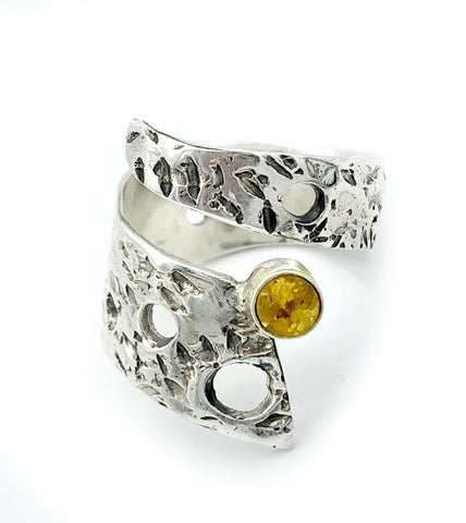 Abstract silver ring, citrine ring, silver adjustable ring, modern ring - Handmade with love from Greece