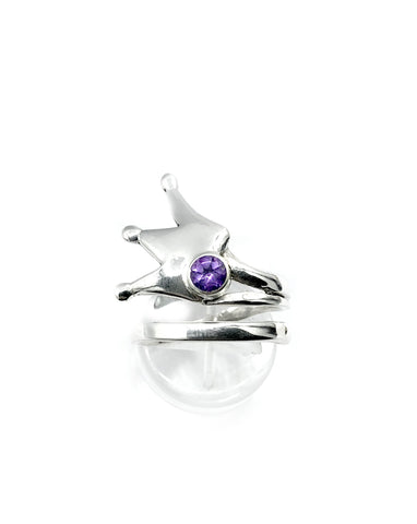 crown ring, princess crown ring silver ring, amethyst ring