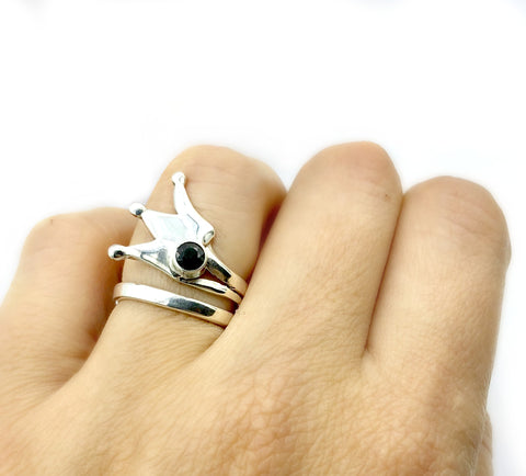 queen crown ring, princess crown ring silver ring, black spinel ring