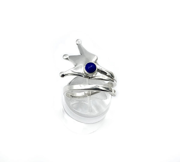 Silver crown ring adjustable with blue gemstone