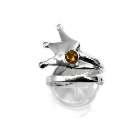 queen crown ring, princess crown ring silver ring, citrine ring