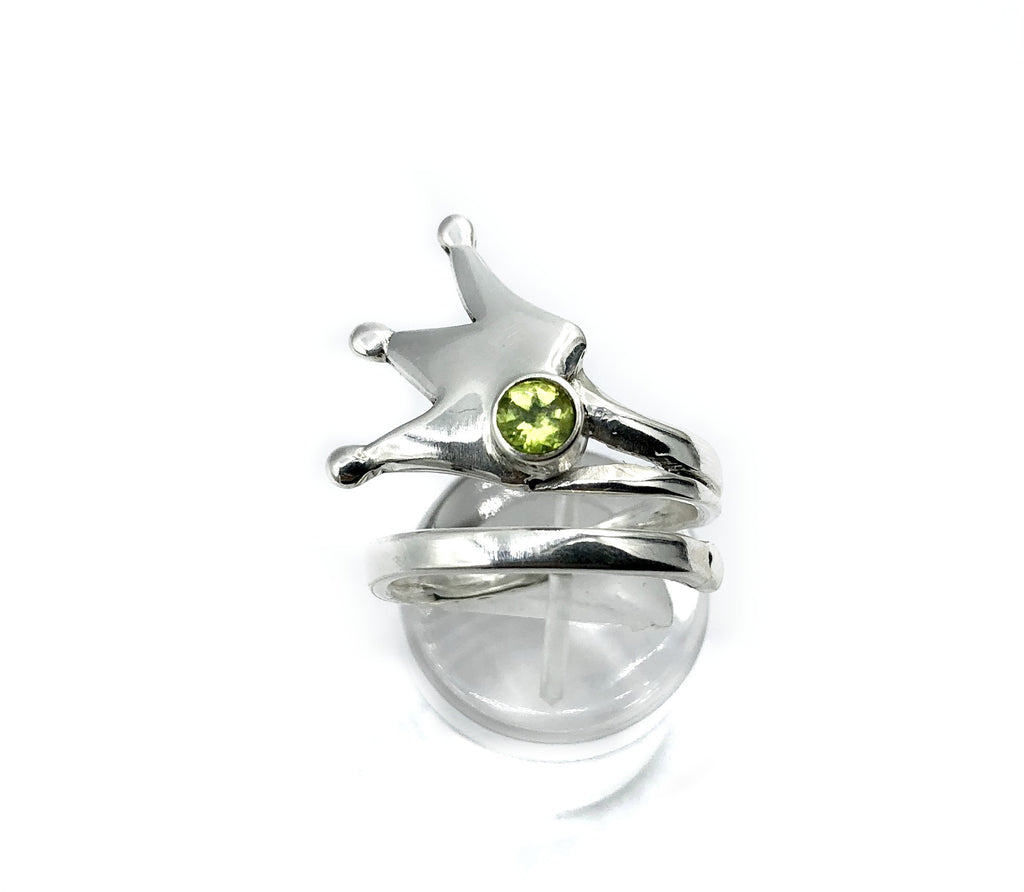 queen crown ring, princess crown ring silver ring, peridot ring
