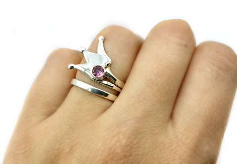 silver crown ring, princess crown ring silver ring, pink tourmaline ring