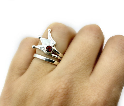 princess crown ring, queen crown ring silver ring, red garnet ring