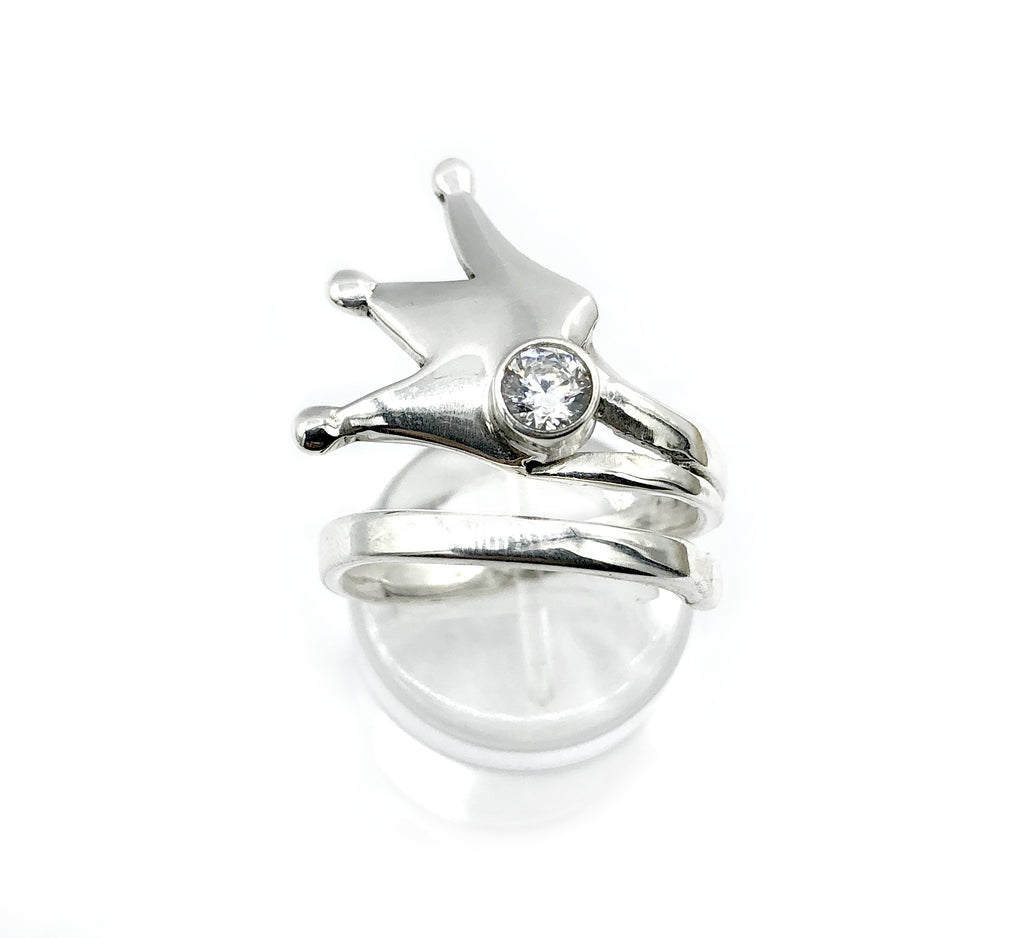 silver crown ring, princess crown ring silver ring, zircon ring