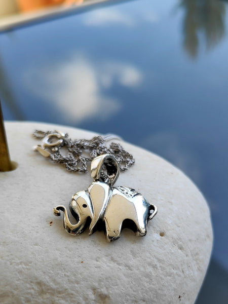 elephant pendant, elephant necklace, silver elephant pendant - Handmade with love from Greece