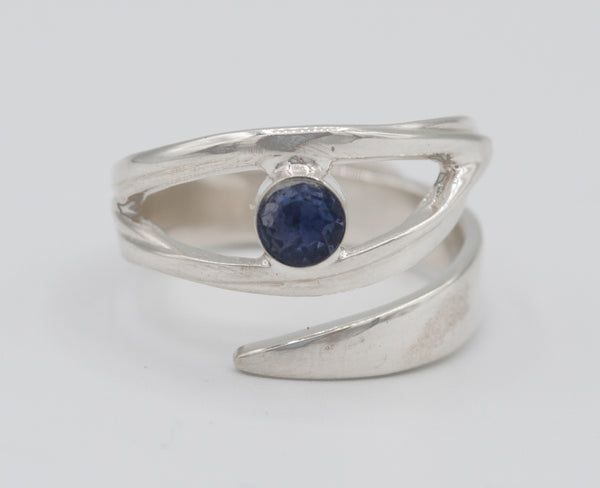 eye ring, blue iolite silver ring silver eye ring with blue stone ring - Handmade with love from Greece