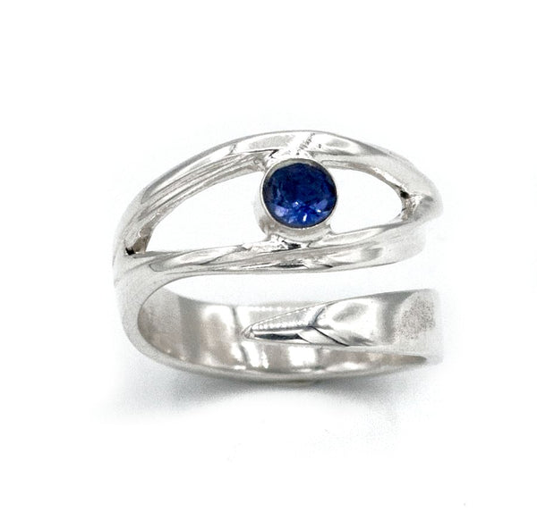eye ring, blue iolite silver ring silver eye ring with blue stone ring