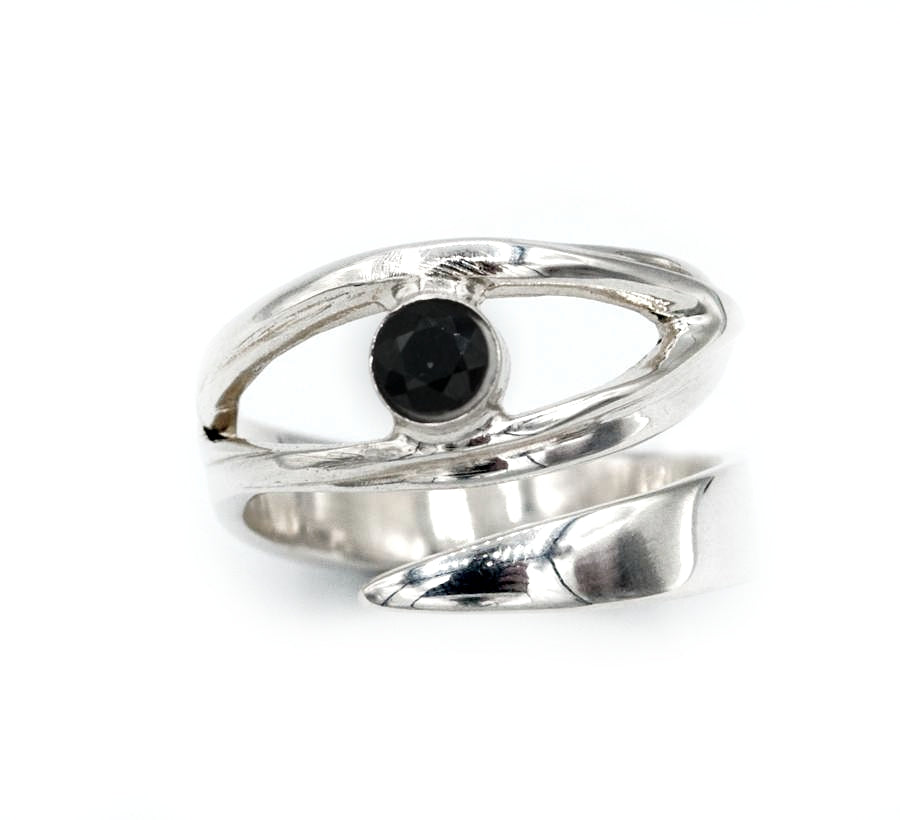 silver ring with black spinel