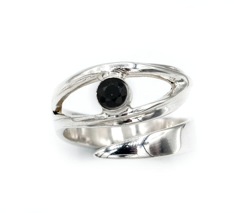 black spinel silver ring, eye ring, black stone ring, black and silver ring