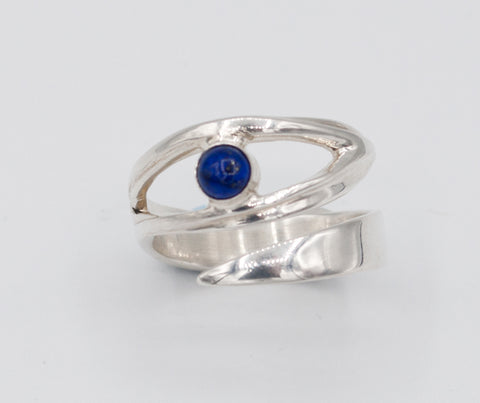 blue lapis silver ring, eye ring, blue stone ring, blue lapis ring - Handmade with love from Greece
