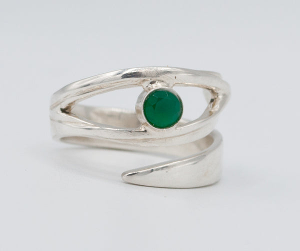 Green agate silver ring, green agate ring, eye ring, green stone ring modern sterling silver ring Made in Greece