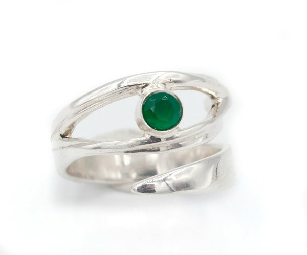 Green agate silver ring, green agate ring, eye ring, green stone ring