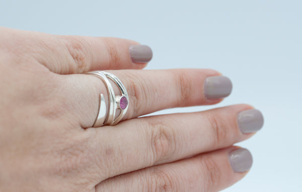october birthstone silver ring, pink stone ring, pink tourmaline ring