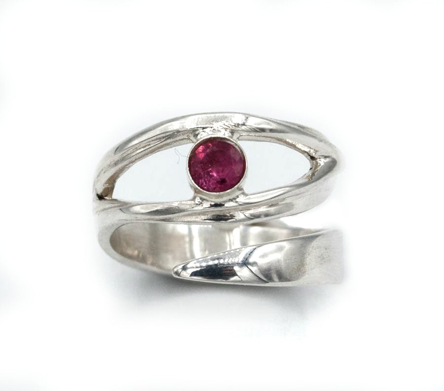 Pink tourmaline silver ring, October birthstone, eye ring, pink stone ring