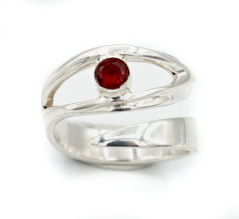 red garnet silver ring, January birthstone, eye ring, red stone ring