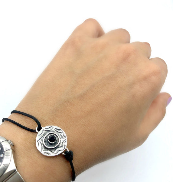 Men's Evil eye bracelet, spinel black gemstone evil eye circle bracelet