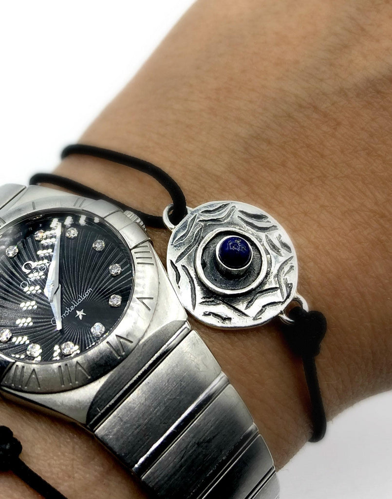 Evil eye bracelet, blue lapis stone, evil eye circle bracelet