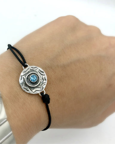 Evil eye bracelet, blue topaz stone, evil eye circle bracelet