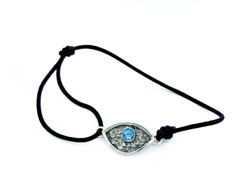 Evil eye bracelet, blue topaz stone, small evil eye bracelet