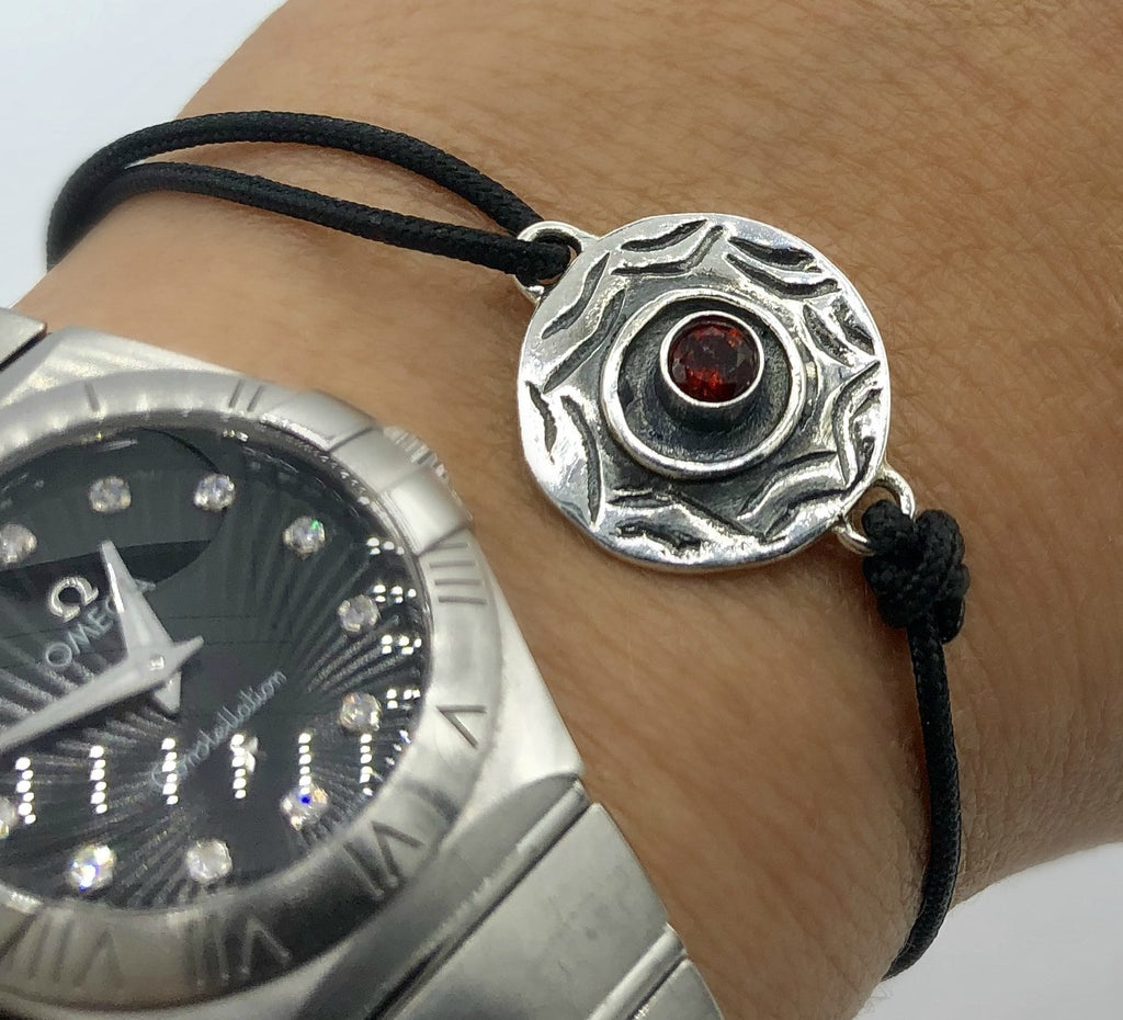 Evil eye bracelet, red garnet gemstone silver bracelet, evil eye circle bracelet