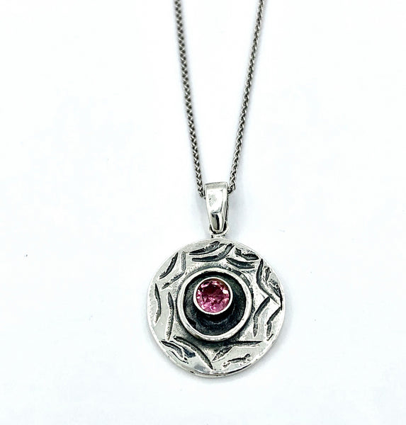 Evil eye pendant, pink tourmaline gemstone, evil eye circle pendant silver chain