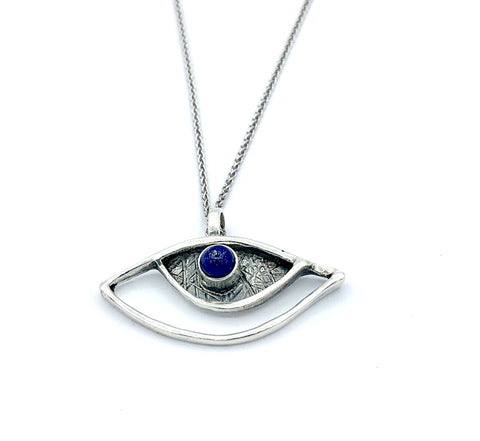 evil eye pendant, blue lapis pendant, silver eye pendant silver chain - Handmade with love from Greece