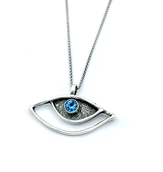 eye pendant, blue topaz pendant, silver eye pendant silver chain - Handmade with love from Greece
