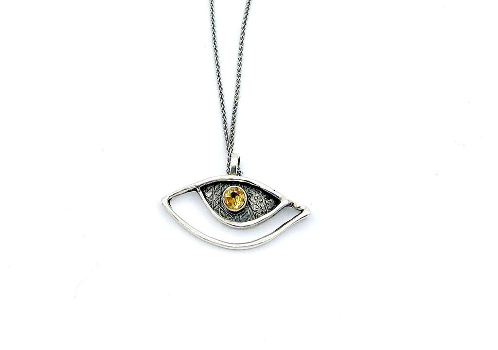 evil eye pendant, citrine pendant, silver eye pendant with silver chain evil eye jewelry