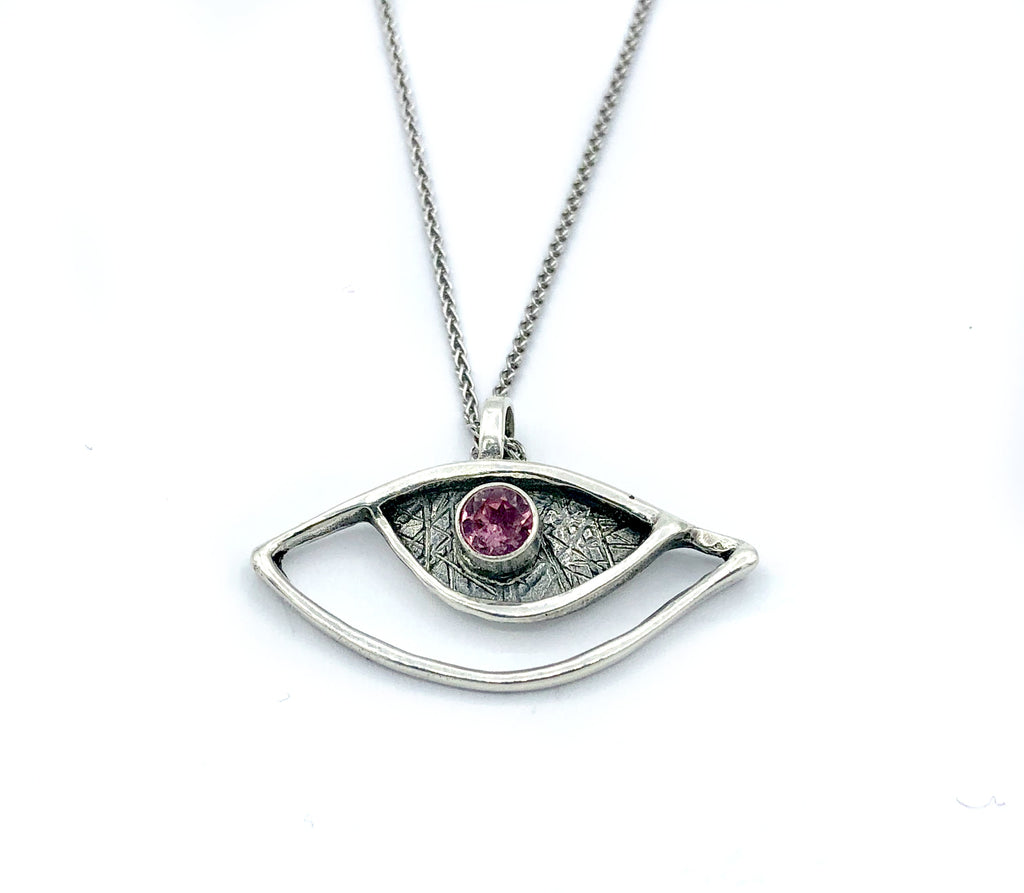 evil eye pendant, pink tourmaline pendant, silver eye pendant silver chain - Handmade with love from Greece
