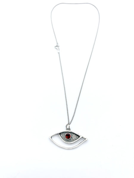 eye pendant, red garnet pendant, silver eye pendant silver chain, eye jewelry