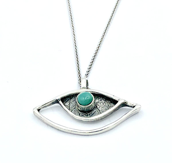 eye pendant, turquoise pendant, silver eye pendant with silver chain
