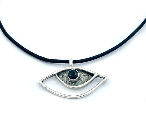 eye pendant, black spinel pendant, silver eye pendant with leather cord evil eye jewelry