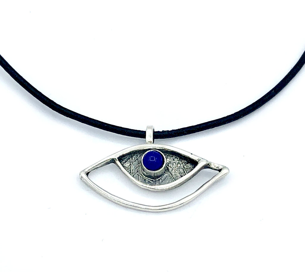 eye pendant, blue lapis pendant, silver eye pendant with leather cord evil eye jewelry