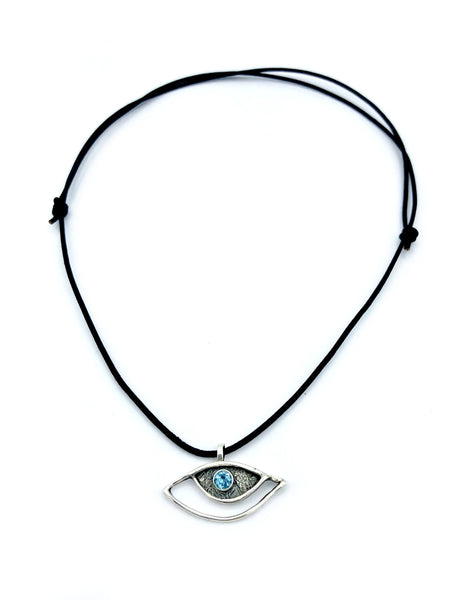 eye pendant, blue topaz pendant, silver eye pendant with leather cord evil eye jewelry - Handmade with love from Greece