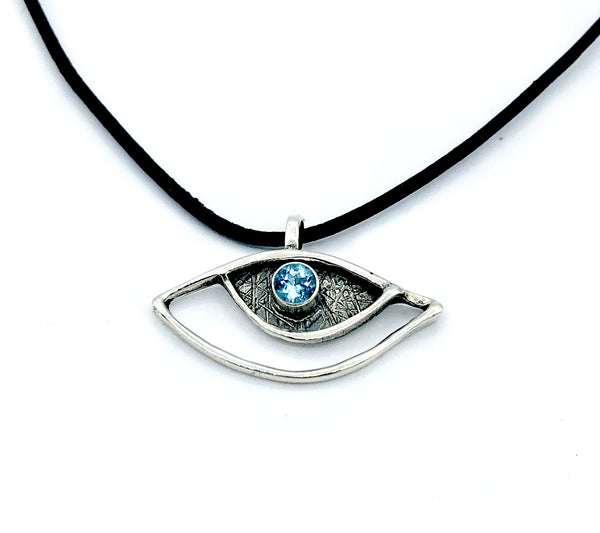 eye pendant, blue topaz pendant, silver eye pendant with leather cord evil eye jewelry