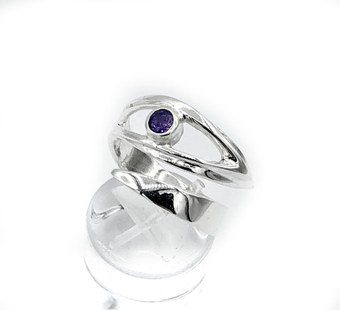 Amethyst silver ring, February birthstone, eye ring, purple stone ring