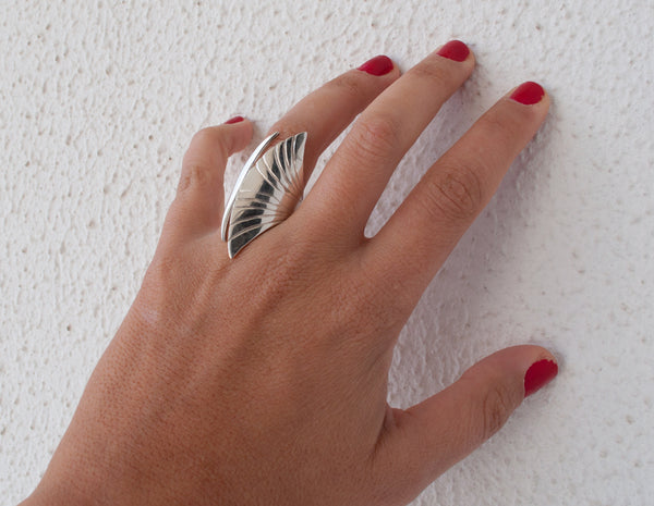 Greek Ring Silver ring adjustable made in Greece - Large statement ring sterling silver