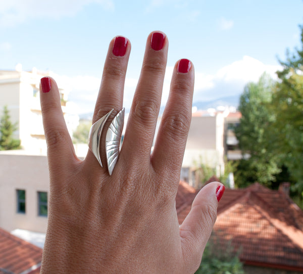 Greek Ring Silver ring adjustable made in Greece - Large statement ring sterling silver - Handmade with love from Greece