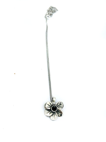 flower pendant, black spinel silver pendant, poppy flower pendant, silver chain - Handmade with love from Greece